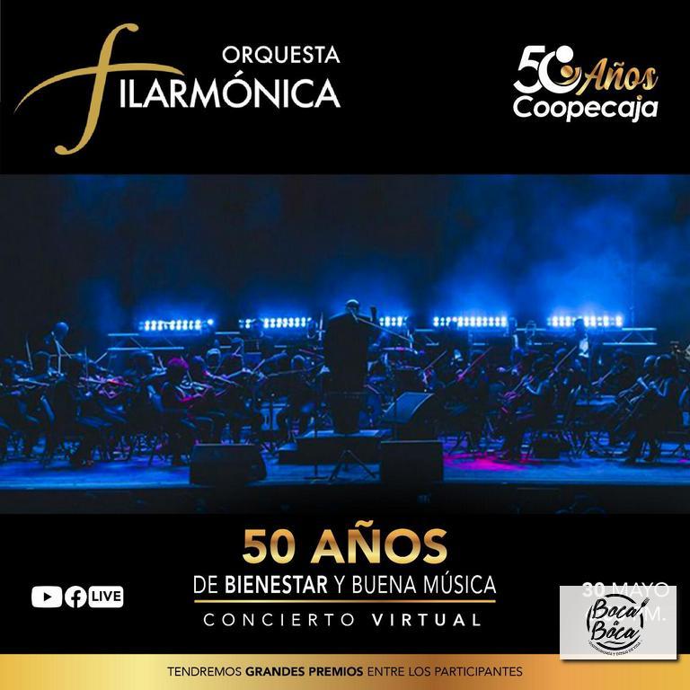 Concierto gratuito con la Filarmónica Nacional para  celebrar el 50 Aniversario de Coopecaja
