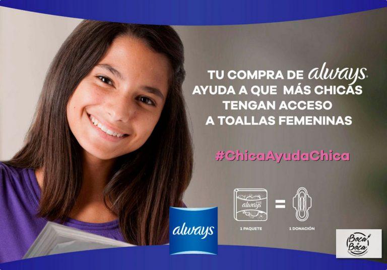 20 mil toallas sanitarias serán donadas para niñas de escasos recursos en Costa Rica con la campaña #ChicaAyudaChica